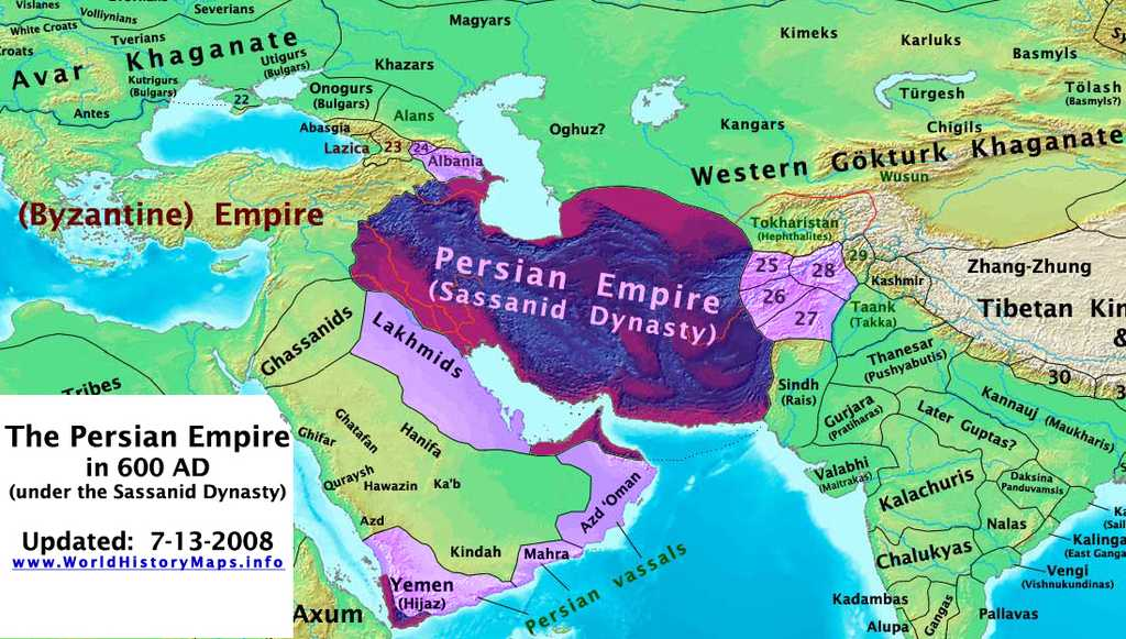The Persian Empire in 600 AD